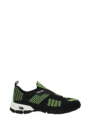 Prada Sneakers Men Fabric  Black Fluo Yellow