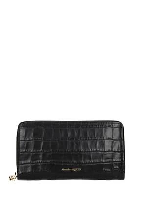 Alexander McQueen Wallets Women Leather Black