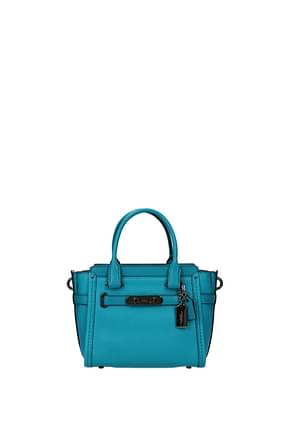 Coach Handbags pb lt coh swg 21 Women Leather Blue Turquoise