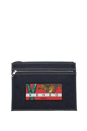 Kenzo Clutches Men Fabric  Blue Red