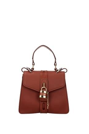 Chloé Handbags Women Leather Brown Maroon