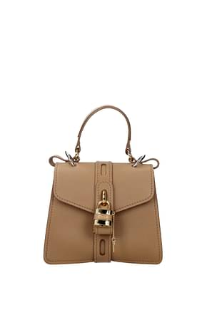 Chloé Handbags Women Leather Beige Antique Pearl