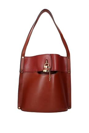 Chloé Shoulder bags bucket Women Leather Brown Tan