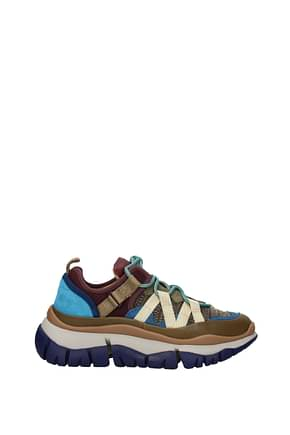 Chloé Sneakers Women Leather Brown Light Blue