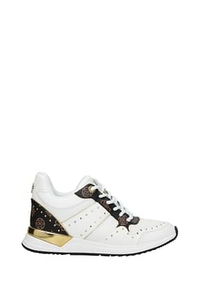Guess Sneakers Women Fabric  White Brown
