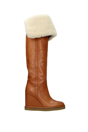 Celine Boots Women Leather Brown