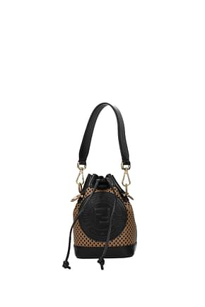 Fendi Handbags mon tresor mini Women Leather Brown Black