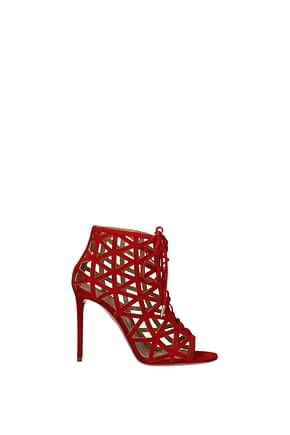 Aquazzura Ankle boots Women Suede Red