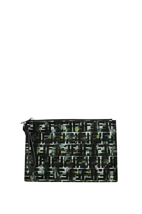Fendi Clutches Men Fabric  Green