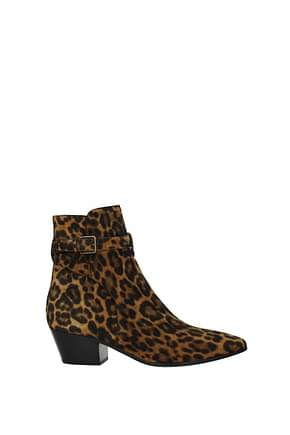Saint Laurent Ankle boots Women Suede Brown