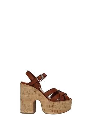 Miu Miu Sandals Women Leather Brown