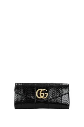 Gucci Clutches Women Leather Snake Black