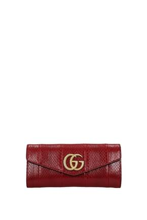 Gucci Clutches Women Leather Snake Red