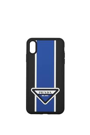Prada Porta iPhone i phone xs max Uomo Gomma Blu