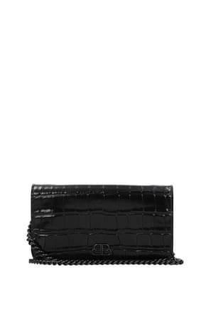 Balenciaga Portefeuilles Femme Cuir Noir