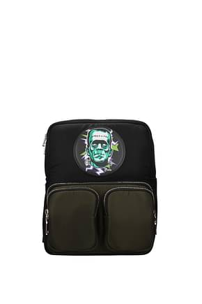 Prada Backpack and bumbags frankenstein Men Fabric  Black Camouflage Green