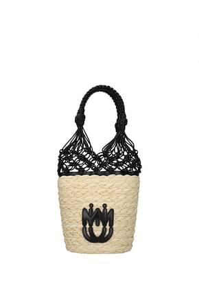 Miu Miu Handbags Women Straw Beige Black