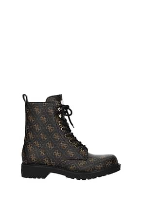 Guess Bottines Femme Polyuréthane Marron