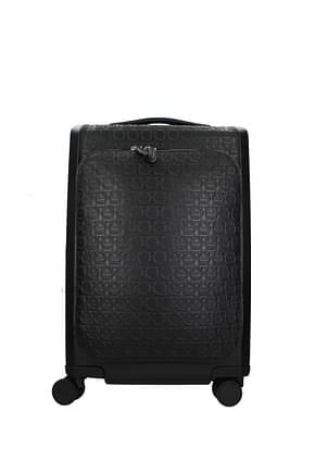Salvatore Ferragamo Wheeled Luggages gancini Men Leather Black Black
