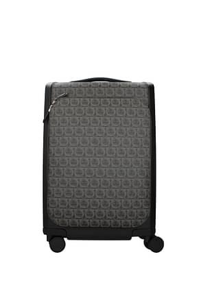 Salvatore Ferragamo Wheeled Luggages gancini Men Leather Black Grey