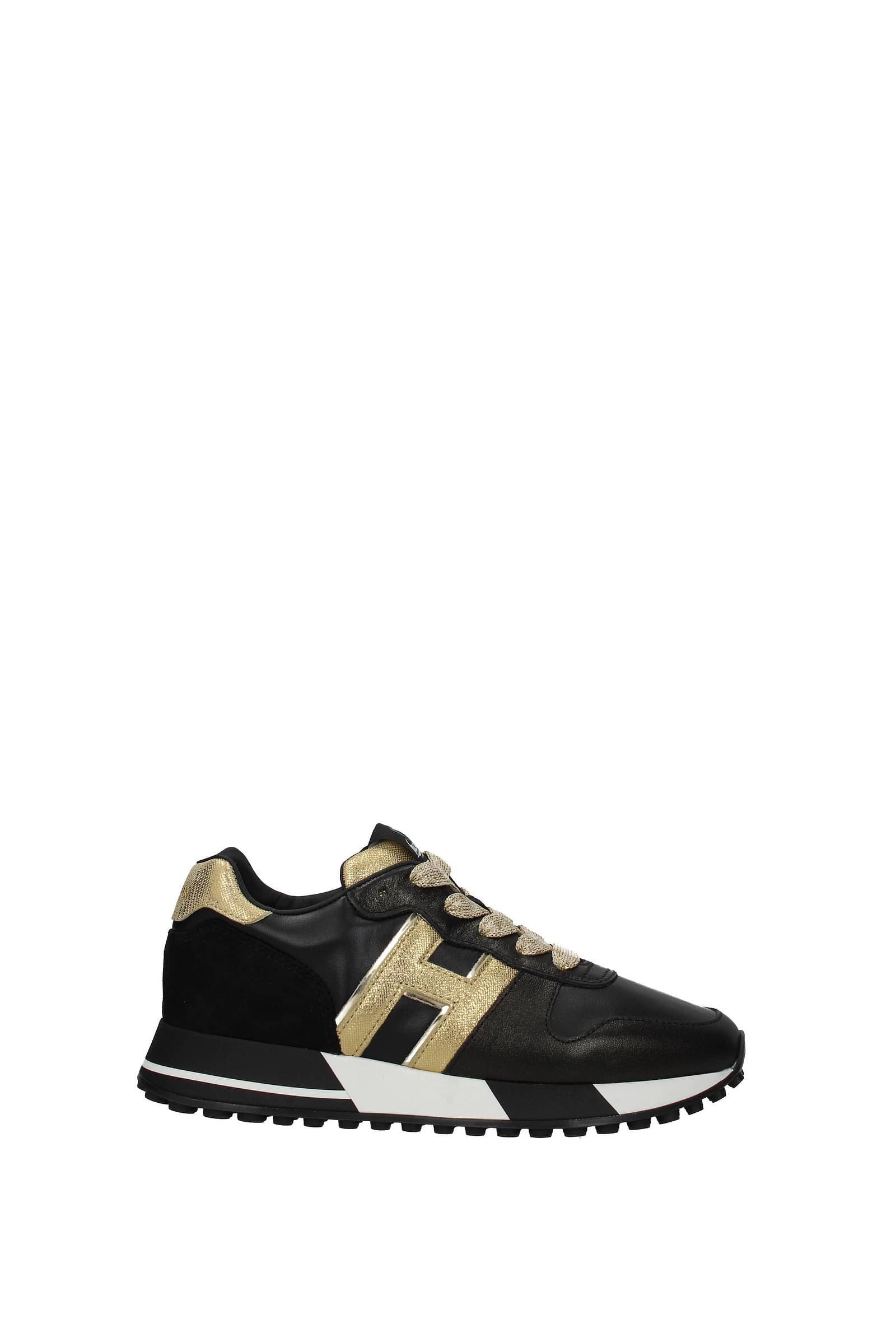 Hogan Sneakers Donna Pelle Nero Oro