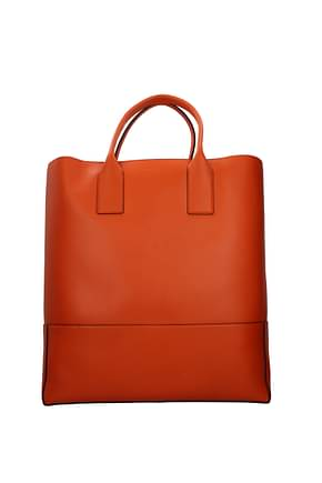 Bottega Veneta Travel Bags Men Leather Orange
