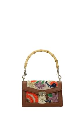 Miu Miu Handbags Women Leather Beige Cognac