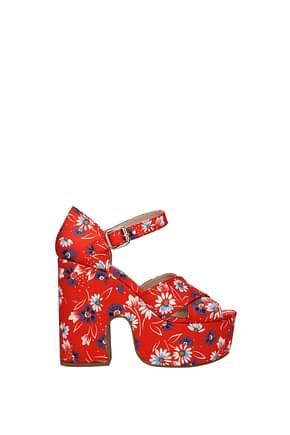 Miu Miu Sandali Donna Tessuto Rosso