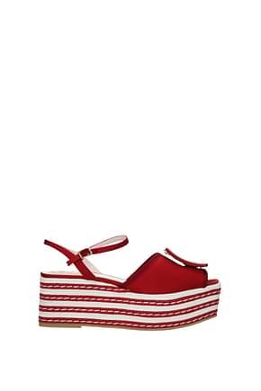 Roger Vivier Sandales Femme Tissu Rouge