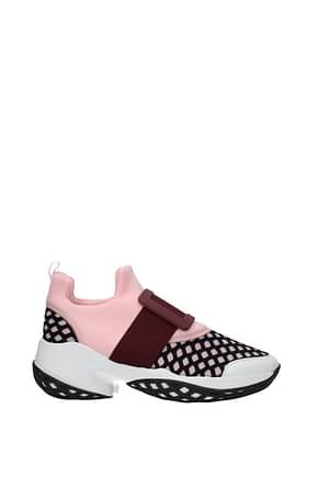 Roger Vivier Sneakers Damen Stoff Rosa Wein