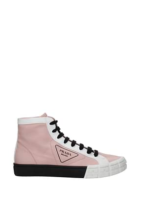 Prada Sneakers Men Fabric  Pink White
