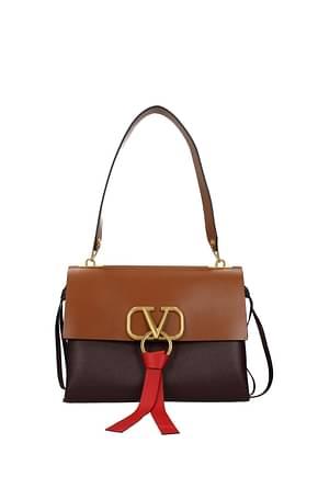 Valentino Garavani Shoulder bags vlogo Women Leather Red Brown