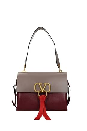 Valentino Garavani Shoulder bags vlogo Women Leather Gray Wine