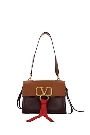 Valentino Garavani Shoulder bags Women Leather Brown Burgundy