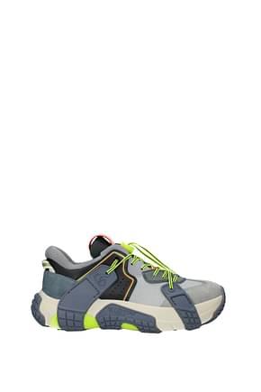 Valentino Garavani Sneakers Homme Cuir Gris Jaune Fluo