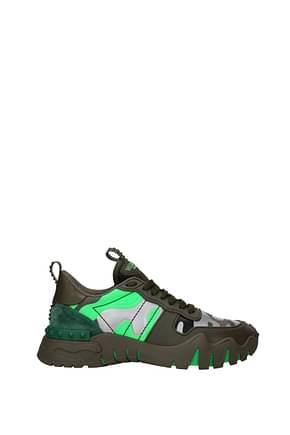 Valentino Garavani Sneakers rockrunning Hombre Piel Verde Verde Fluo