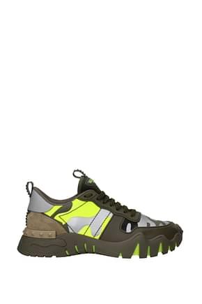 Valentino Garavani Sneakers rockrunning Hombre Piel Verde Amarillo Fluo