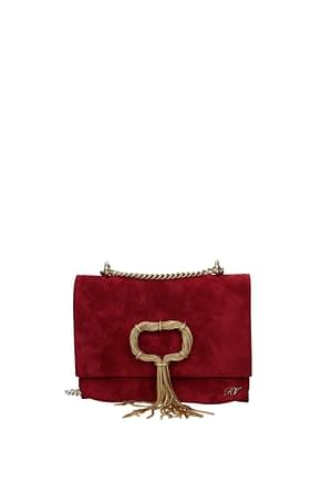 Roger Vivier Crossbody Bag Women Suede Red