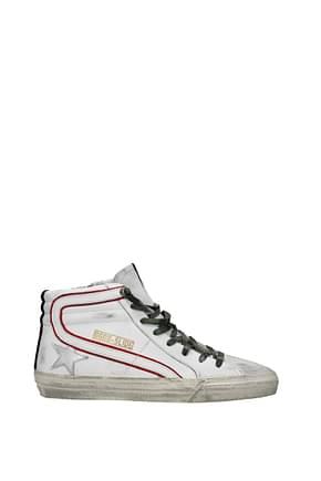 Golden Goose Sneakers slide Herren Leder Weiß Rot