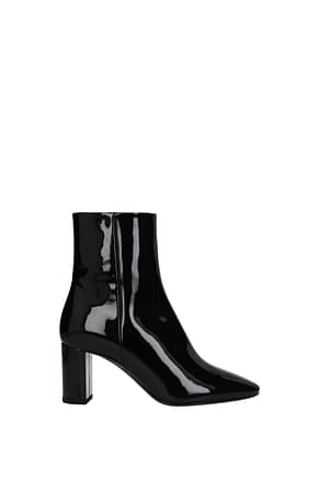 Saint Laurent Bottines Femme Cuir Verni Noir