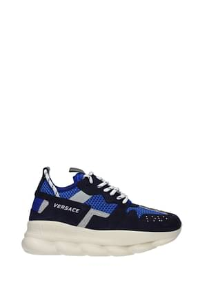 Versace Sneakers Herren Stoff Blau Blau von Burano