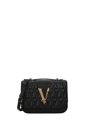 Versace Handbags Women Leather Black Gold