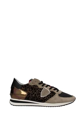 Philippe Model Sneakers trpx Donna Tessuto Marrone Bronzo