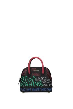 Balenciaga Handbags Women Leather Black Multicolor