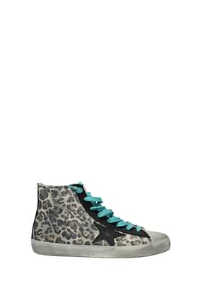 Golden Goose Sneakers francy Women Suede Beige Black