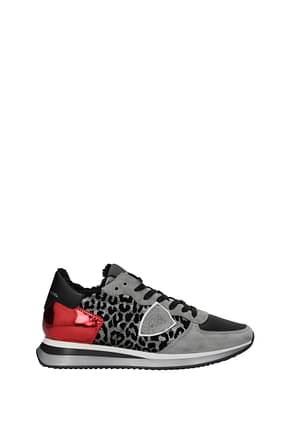 Philippe Model Sneakers trpx Women Suede Silver Red