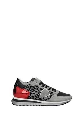 Philippe Model Sneakers trpx Women Fabric  Silver Red