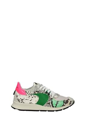 Philippe Model Sneakers montecarlo Donna Pelle Beige Rosa Fluo