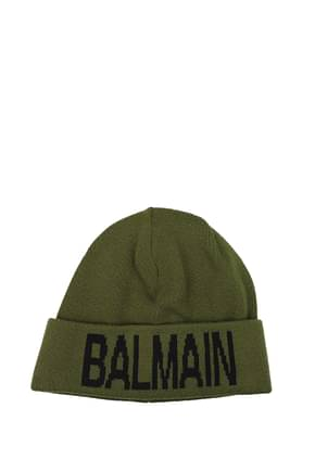 Balmain Hats Men Wool Green