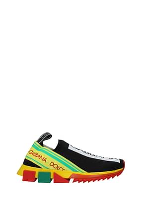 Dolce&Gabbana Sneakers Men Fabric  Black Yellow